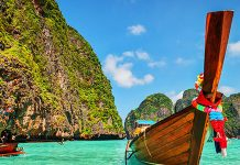 long tail boat in phi phi thailand